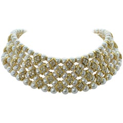 Giovane Pearl and Diamond Choker Necklace