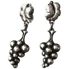 """Georg Jensen Sterling Silver """"Grape"""" Earrings No. 40 by Harald Nielsen"""