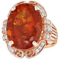 11.71 Carat Fire Opal and Diamond Ring 14K Rose Gold