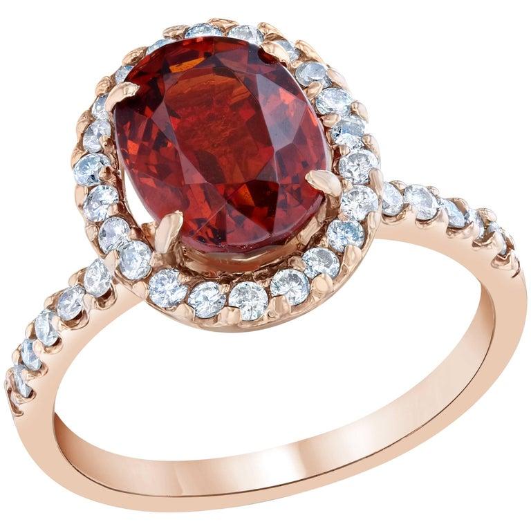 Spessartite Diamond Ring 14K Rose Gold