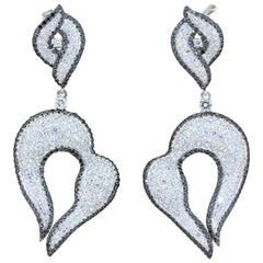 Diamond Gold Drop Swirl Earrings