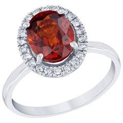 3.49 Carat Spessartine Diamond Ring 14K White Gold