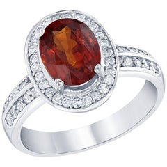 Spessartite Diamond Ring 14K White Gold
