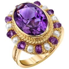 Amethyst 18k Yellow Gold Filigree Ring with Pearls