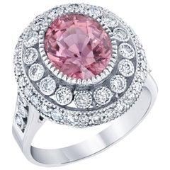 Pink Tourmaline and Diamond Ring 14K White Gold