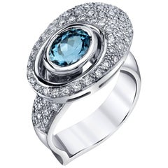 Aquamarine and  Diamond Pave Ring, 18k White Gold