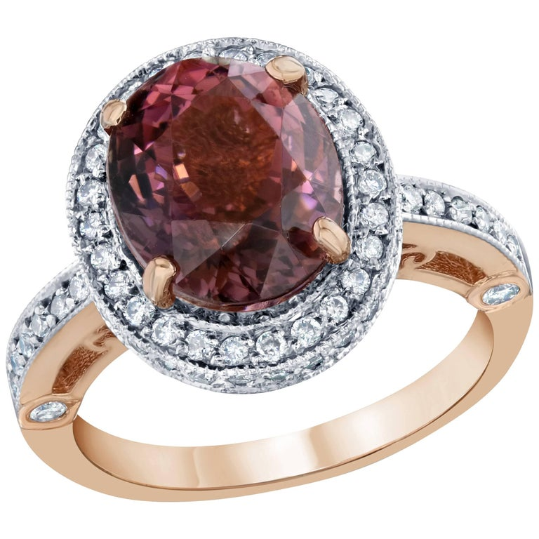 Pink Tourmaline and Diamond Ring 14K Rose Gold