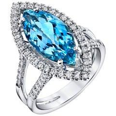 4.20 Carat Aquamarine Ring 18 Karat White Gold with Diamonds