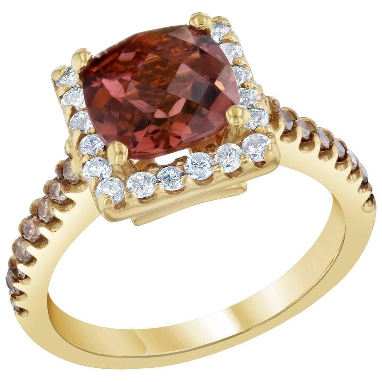 Pink Tourmaline and Diamond Ring 14K Yellow Gold