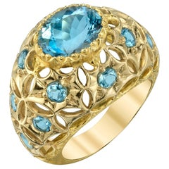 Aquamarine 18 Karat Yellow Gold Ring