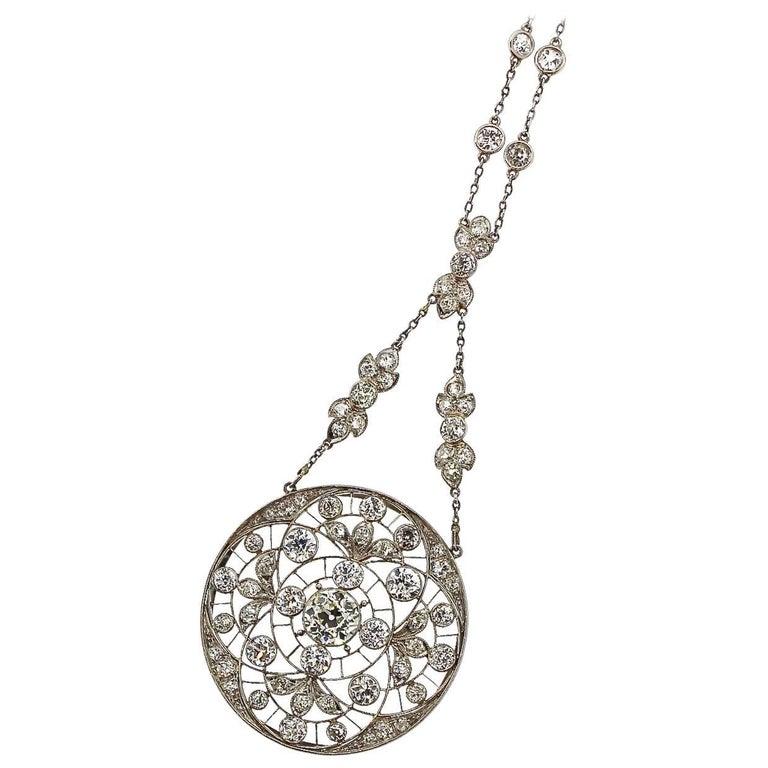 Edwardian Platinum Diamond Sautoir Pendant Necklace, circa 1910