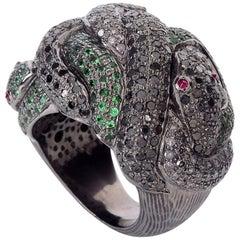 Designer Snake Ring with Diamonds and Tsavorite
