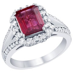 Pink Tourmaline and Diamond Ring 14K White Gold