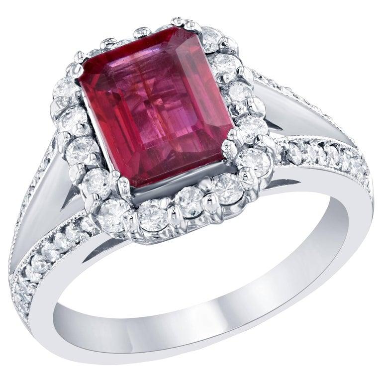 2.45 Carat Pink Tourmaline Diamond Cluster White Gold Ring