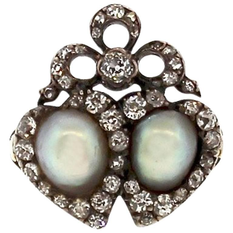 Antique Victorian Silver Topped Gold Natural Pearl Diamond Twin Heart Ring