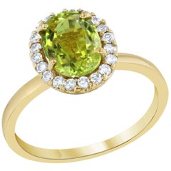 Green Tourmaline and Diamond Ring 14K Yellow Gold