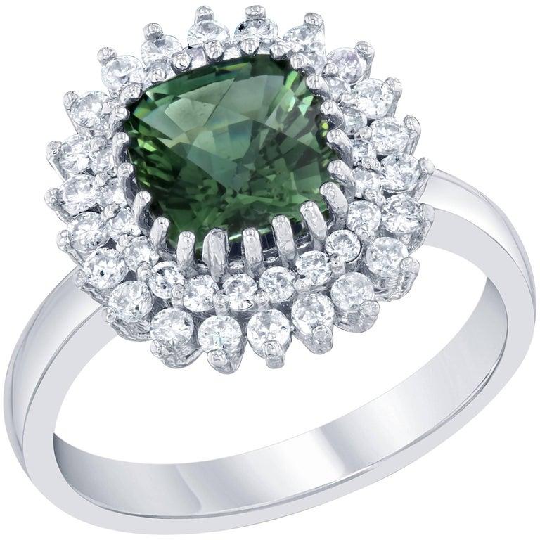 Green Tourmaline and Diamond Ring 14 Karat White Gold