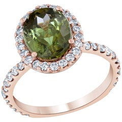 Green Tourmaline and Diamond Ring 14 Karat Rose Gold