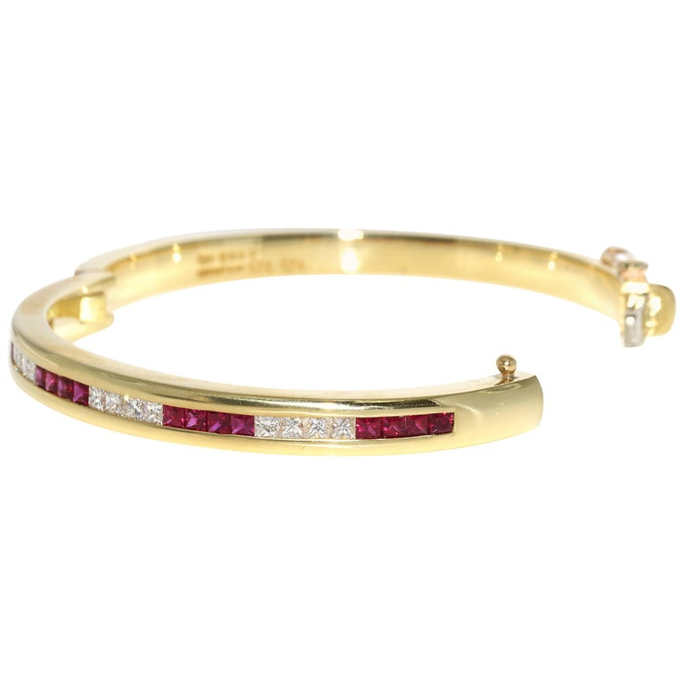 Tiffany & Co. Ruby and Diamond Bangle For Sale