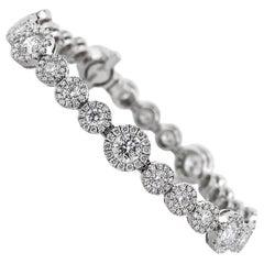 Mark Broumand 7.75 Carat Round Brilliant Cut Diamond Bracelet in 14 Karat Gold