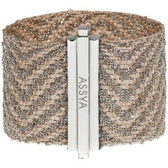 ASSYA London Sterling Silver and Creme Silk Cuff