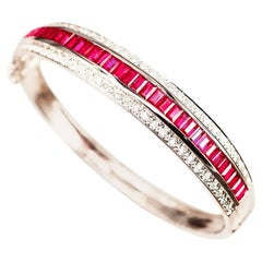 18K White gold invisible Ruby Bangle