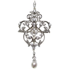 Edwardian Diamond Pearl Brooch Pendant with Hair Comb