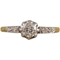 Edwardian Diamond Engagement Ring in 18 Carat Gold and Platinum