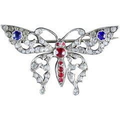 Antique Victorian French Paste Butterfly Brooch, circa 1900