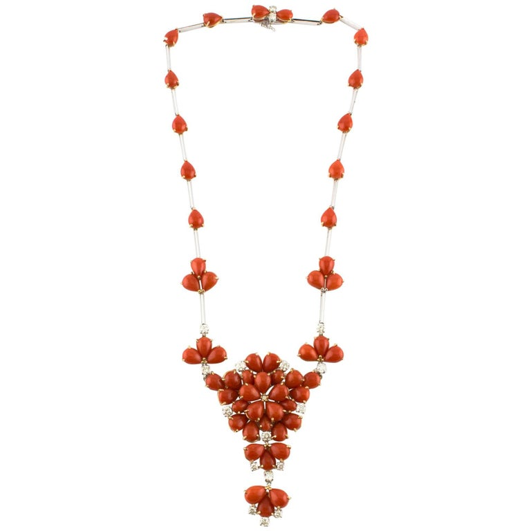 Red Coral Diamond Rose Gold Necklace