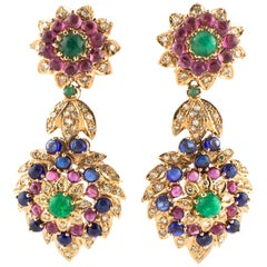 Diamonds Sapphires Rubies Emeralds Rose Gold Dangling Earrings