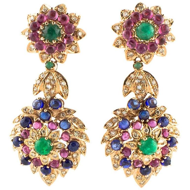 Diamonds Sapphires Rubies Emeralds Rose Gold Dangling Earrings