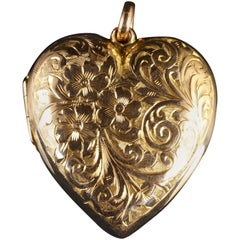 Antique Victorian Gold Heart Pendant Locket Forget Me Not, circa 1900