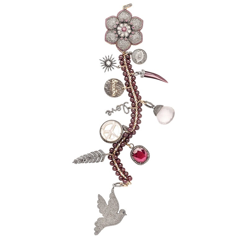 Clarissa Bronfman Diamond, Ruby, Silver 'Garden of Eden' Symbol Tree Necklace