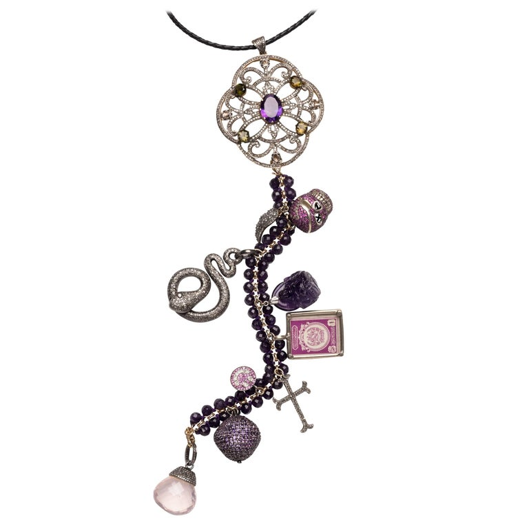 Clarissa Bronfman Amethyst, Diamonds 'La Dolce Vita' Symbol Tree Necklace