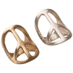 Clarissa Bronfman Gold Plated and Diamond Peace Ring