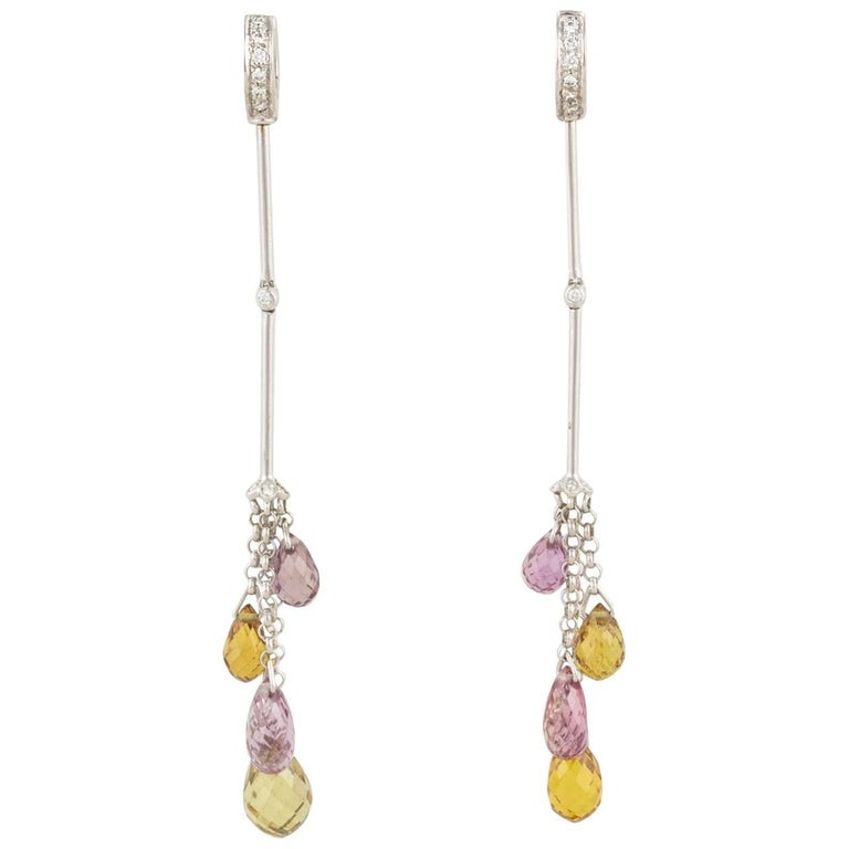 Ella Gafter Multicolor Sapphire Briolette Diamond Gold Dangle Drop Earrings