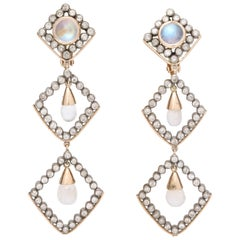 1960s Moonstone Diamonds Triangular Shape Dangle Earrings