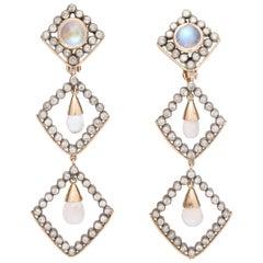 1960s Moonstone Diamonds Triangular Shape Dangle Earrings