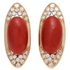 Seiden Gang 1980s Marquis Shaped Oxblood Coral with Diamonds Clip Back Earrings
