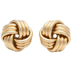 Abel and Zimmerman 1960s Jumbo Lover's Knot Twist Textured Gold Earrings