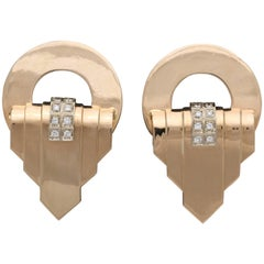 1940s Geometric Design Large Gold with Diamonds Clip Back Earrings