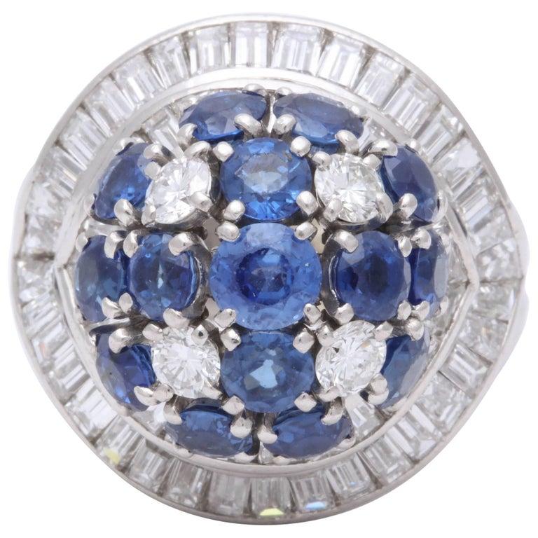 1950s Elegant Ballerina Style Sapphire with Baguette Diamonds Platinum Ring