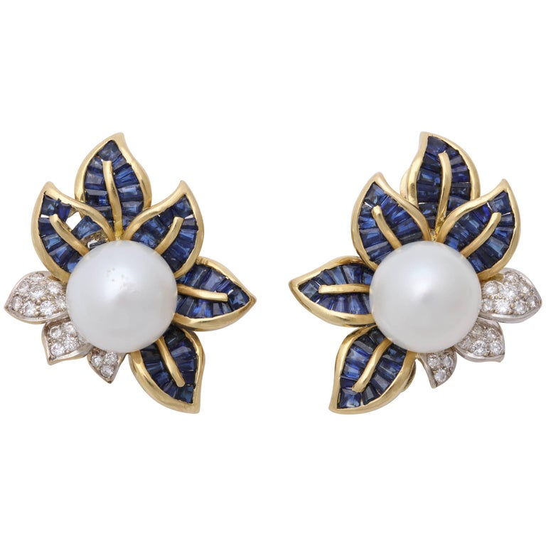 1980s Floral Leaf Large South Sea Pearl with Sapphires and Diamonds Earrings