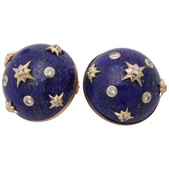 Trianon 1980s Lapis Lazuli with Diamonds Gold Ball Sphere Earrings with Clips