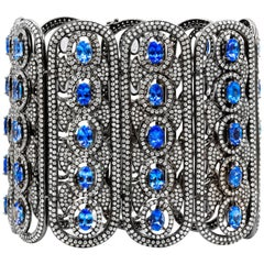 Tanzanite and Diamond Wide Cuff Bracelet
