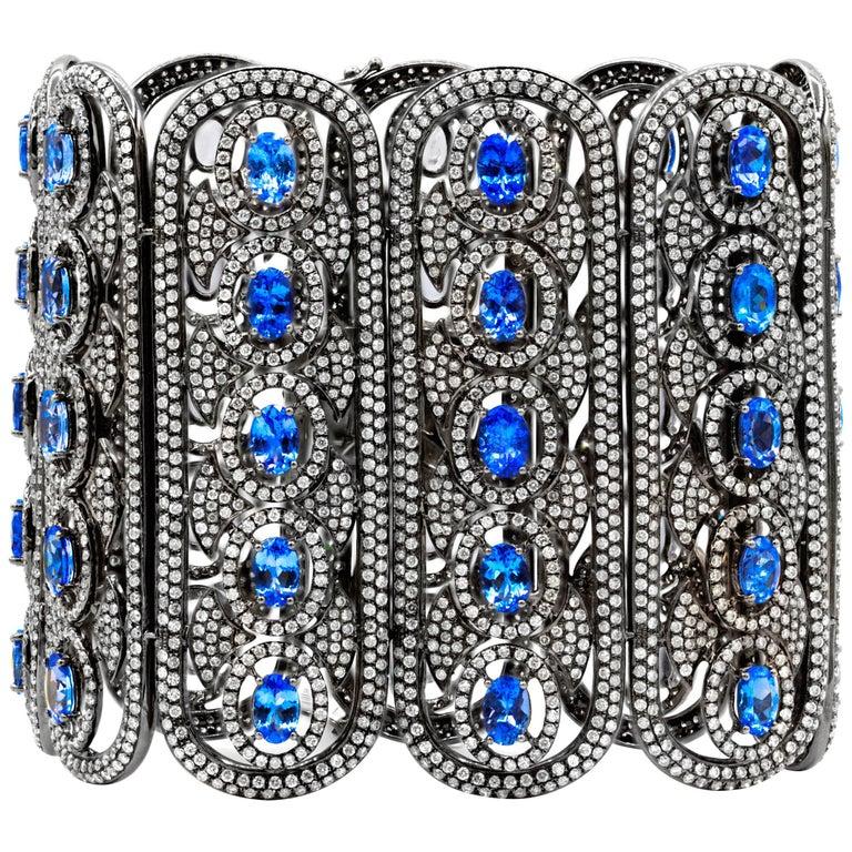 Tanzanite and Diamond Wide Cuff Bracelet