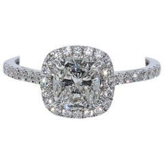 GIA Certified 1.21 Carat Cushion Cut Diamond Halo Engagement Ring
