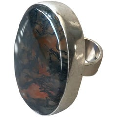 Hans Hansen Modernist Sterling Silver and Moss Agate Ring