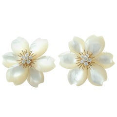 Van Cleef & Arpels Rose De Noel Mother of Pearl Medium Model Earrings
